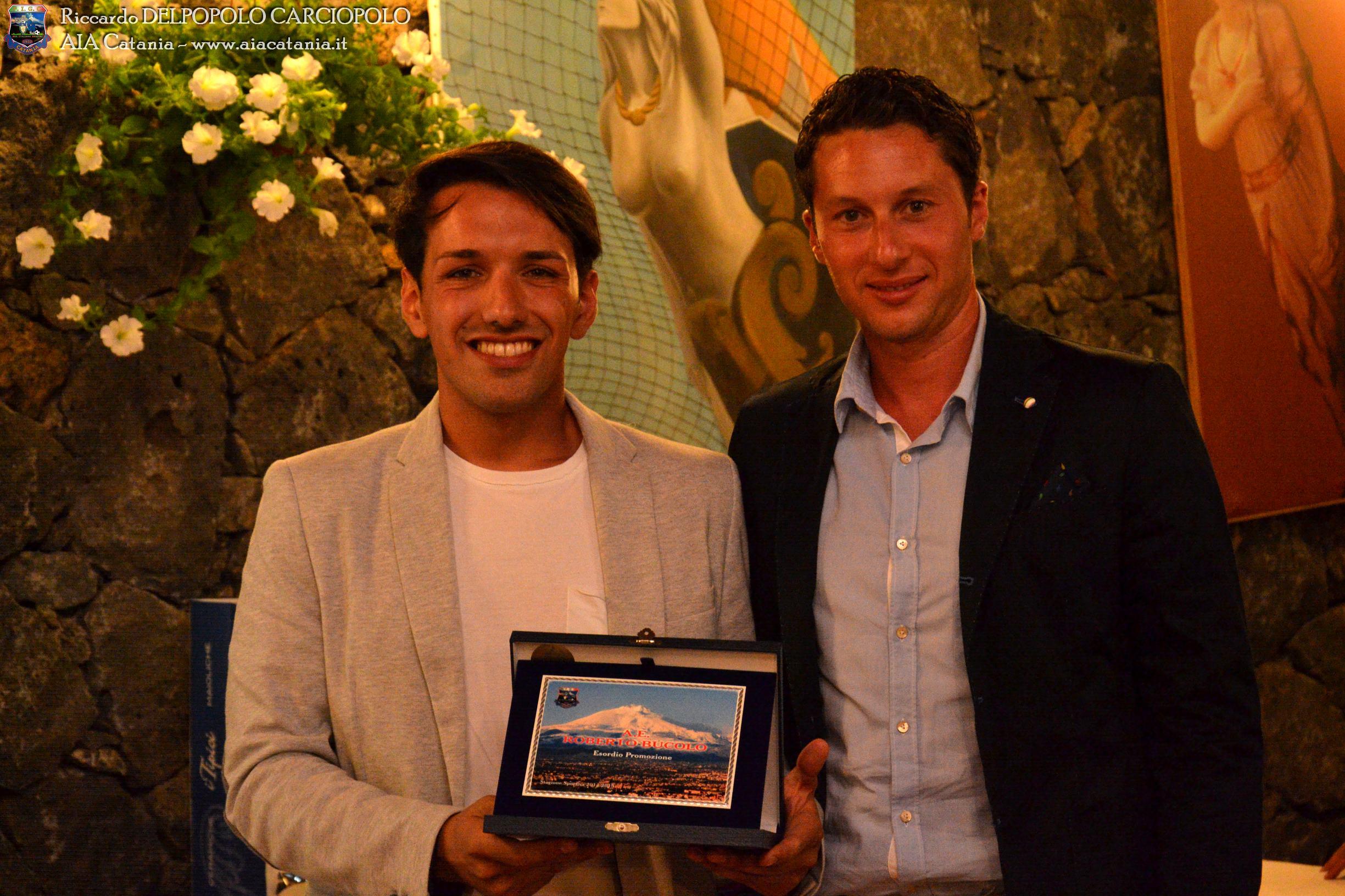 A.E. Roberto BUCOLO premiato per l'esordio in Promozione dall' A.A. C.A.N. B Gaetano INTAGLIATA.